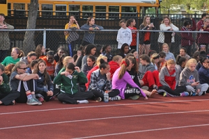 The crowd gathers for the Steeple!